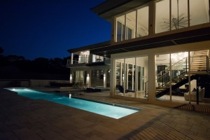 rear pool view night